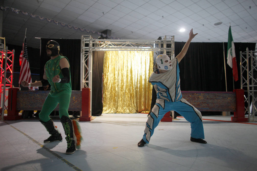 Tag team Dolar Suete, left, and Mati Matico Tres enter the arena at a Lucha Libre show at the Sahara Event Center in Las Vegas, Sunday, April 8, 2018. Rachel Aston Las Vegas Review-Journal @rookie ...