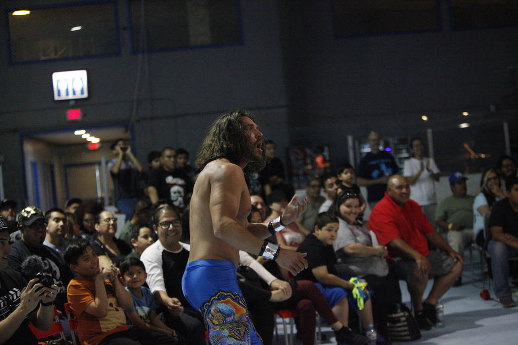 Ricky Mandel reacts after his opponent punched him after he already won the match at a Lucha Libre show at the Sahara Event Center in Las Vegas, Sunday, April 8, 2018. Rachel Aston Las Vegas Revie ...
