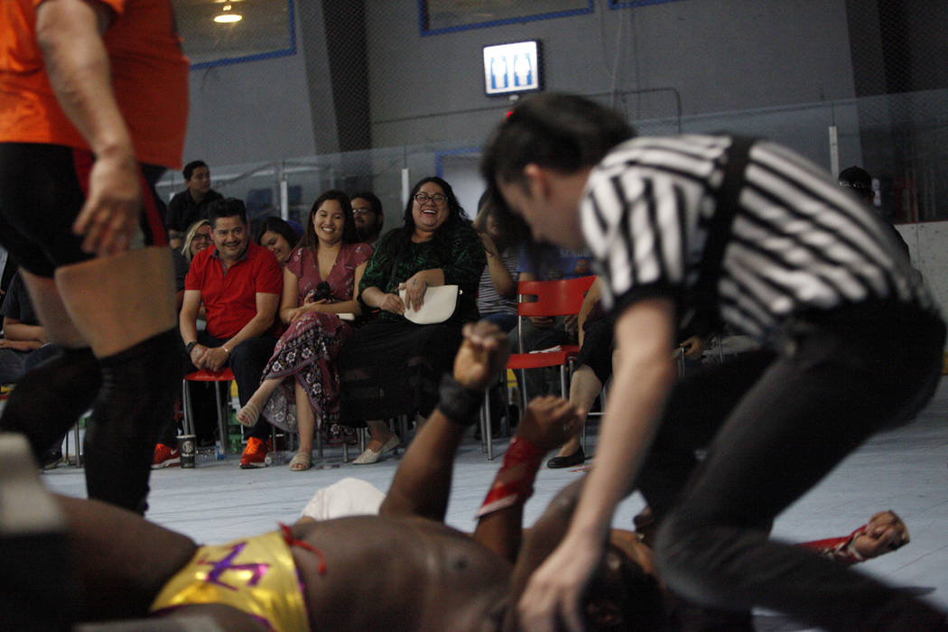 The crowd reacts to Willie Mack struggling on the ground at a Lucha Libre show at the Sahara Event Center in Las Vegas, Sunday, April 8, 2018. Rachel Aston Las Vegas Review-Journal @rookie__rae