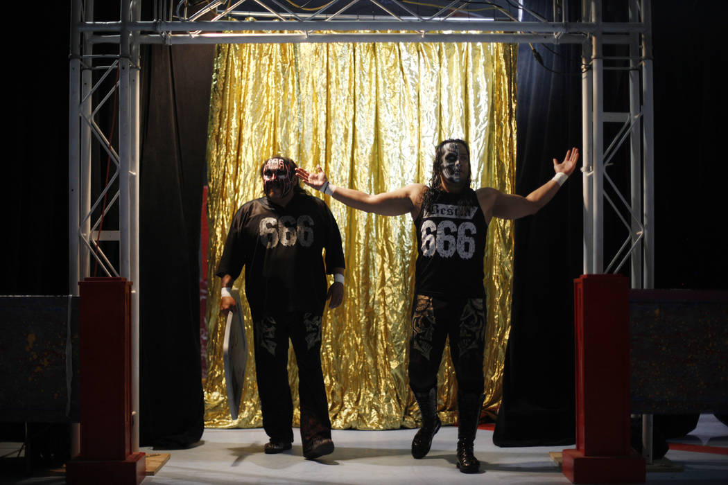 Damian 666, left, and Bestia 666 enter the arena at a Lucha Libre show at the Sahara Event Center in Las Vegas, Sunday, April 8, 2018. Rachel Aston Las Vegas Review-Journal @rookie__rae