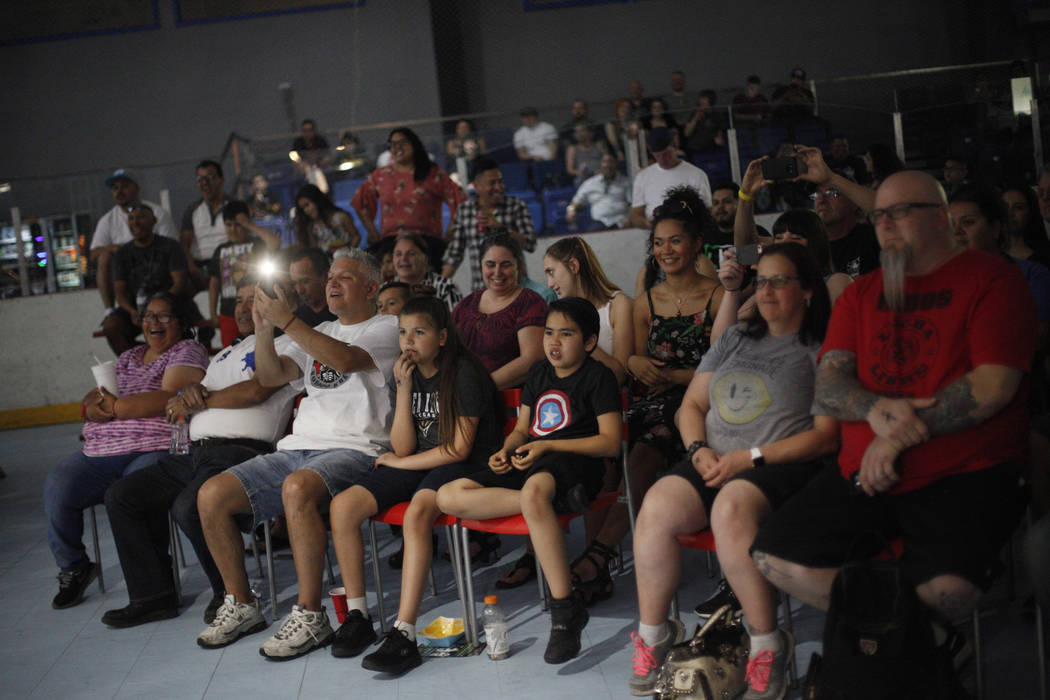 The crowd reacts to the final event at a Lucha Libre show at the Sahara Event Center in Las Vegas, Sunday, April 8, 2018. Rachel Aston Las Vegas Review-Journal @rookie__rae