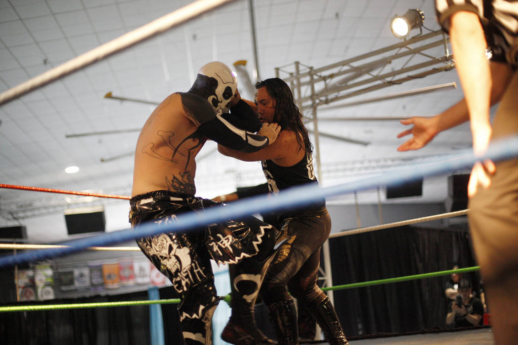 Funnybone fights Besta 666 at a Lucha Libre show at the Sahara Event Center in Las Vegas, Sunday, April 8, 2018. Rachel Aston Las Vegas Review-Journal @rookie__rae