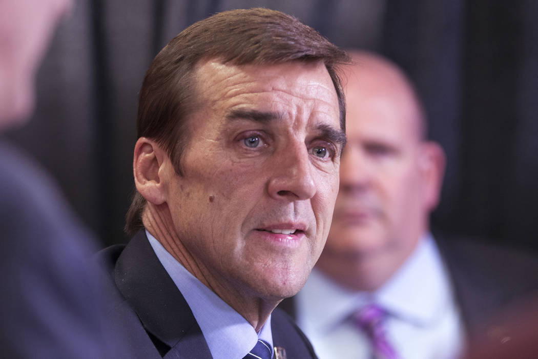 Vegas Golden Knights general manager George McPhee talks about the team's selections at the 2017 NHL Entry Draft at the United Center in Chicago, Illinois, on Saturday, June 24, 2017. Heidi Fang/L ...