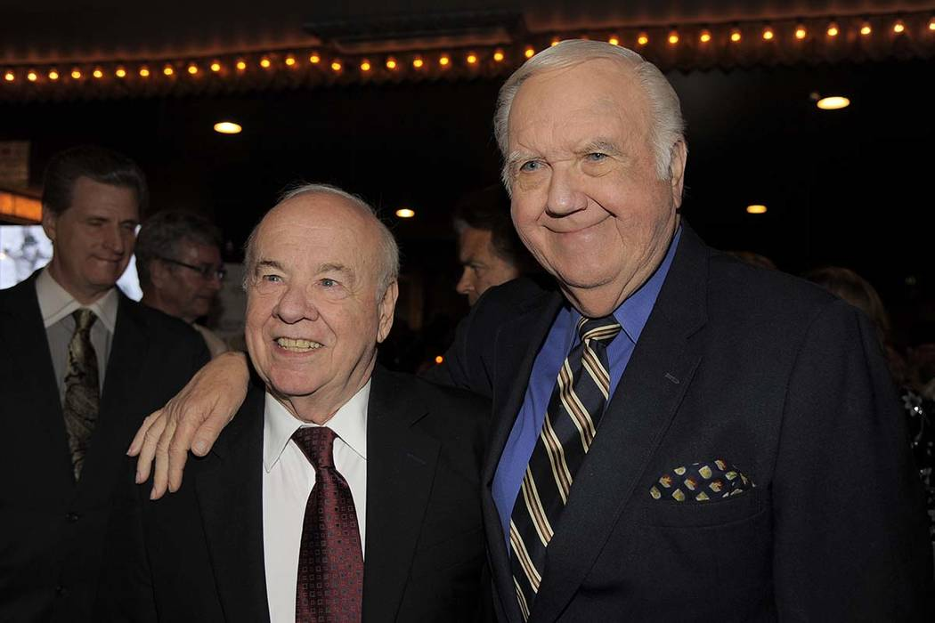 """In this Sept. 25, 2013, file photo, Tim Conway, left, and Chuck McCann pose together at """"Still Laugh In: A Toast to George Schlatter"""" at the Saban Theatre in Beverly Hills, California. (Photo by C ..."""