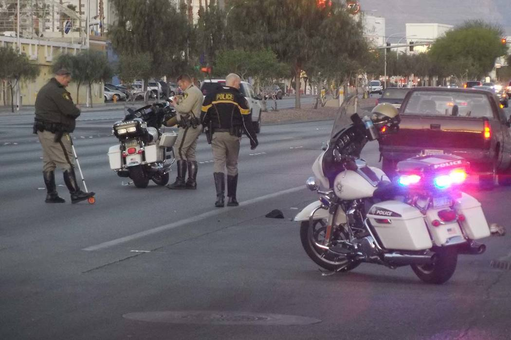 Las Vegas police are investigating a Monday morning accident on Sahara Boulevard near Maryland Parkway. (Max Michor/Las Vegas Review-Journal)