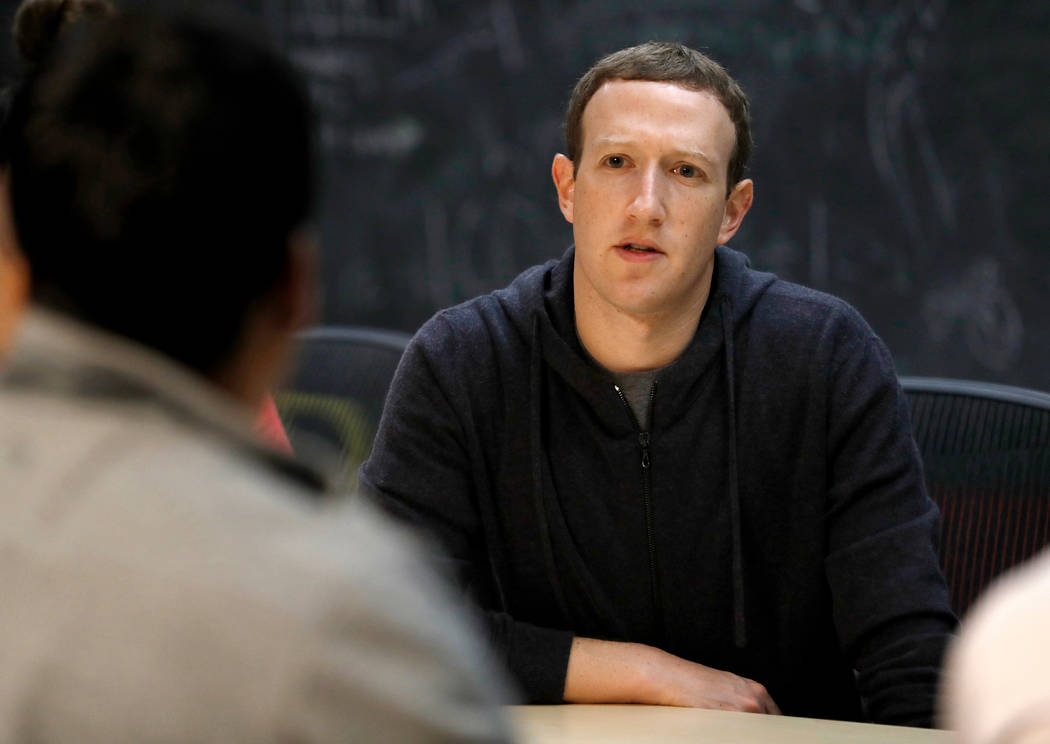 Facebook CEO Mark Zuckerberg meets with a group of entrepreneurs and innovators during a round-table discussion in St. Louis, Nov. 9, 2017. As Zuckerberg prepares to testify before Congress over F ...