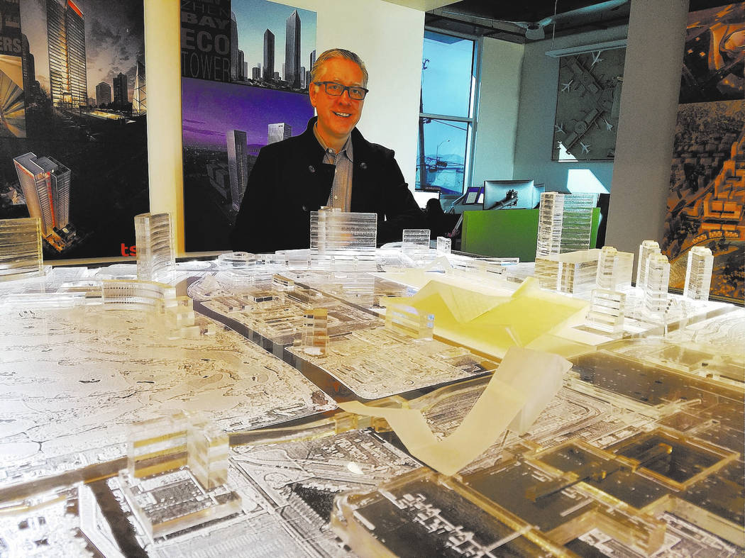 Windom Kimsey, principal and CEO of TSK Architects, Henderson, stands before a model of the planned Las Vegas Convention Center expansion at his office on Jan. 23, 2018. Richard N. Velotta/Las Veg ...