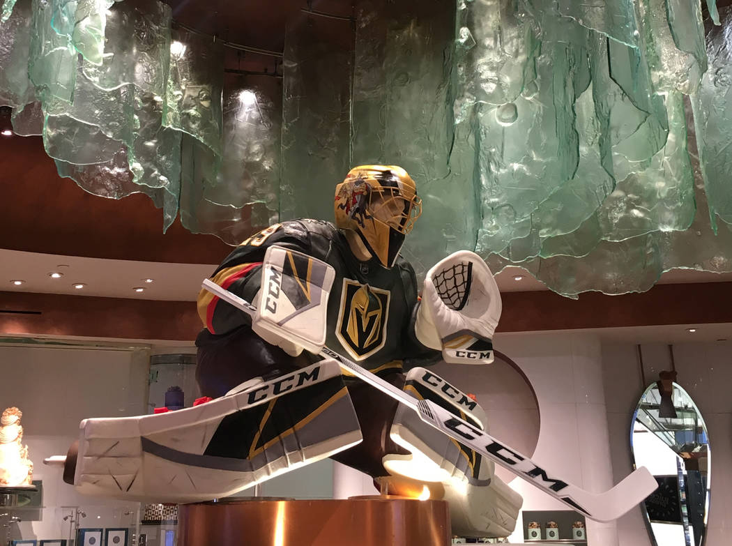 Bellagio Patisserie debuted a chocolate sculpture of goalie Marc-Andre Fleury on Monday, just in time for the playoffs. (Janna Karel Las Vegas Review-Journal)