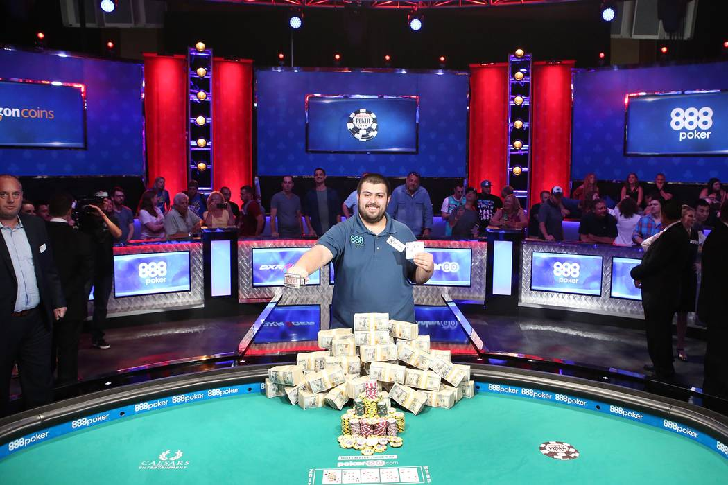Scott Blumstein is named the 2017 World Series of Poker champion at the World Series of Poker final table at Rio Convention Center in Las Vegas on Saturday, July 22, 2017.  Bridget Bennett Las Veg ...