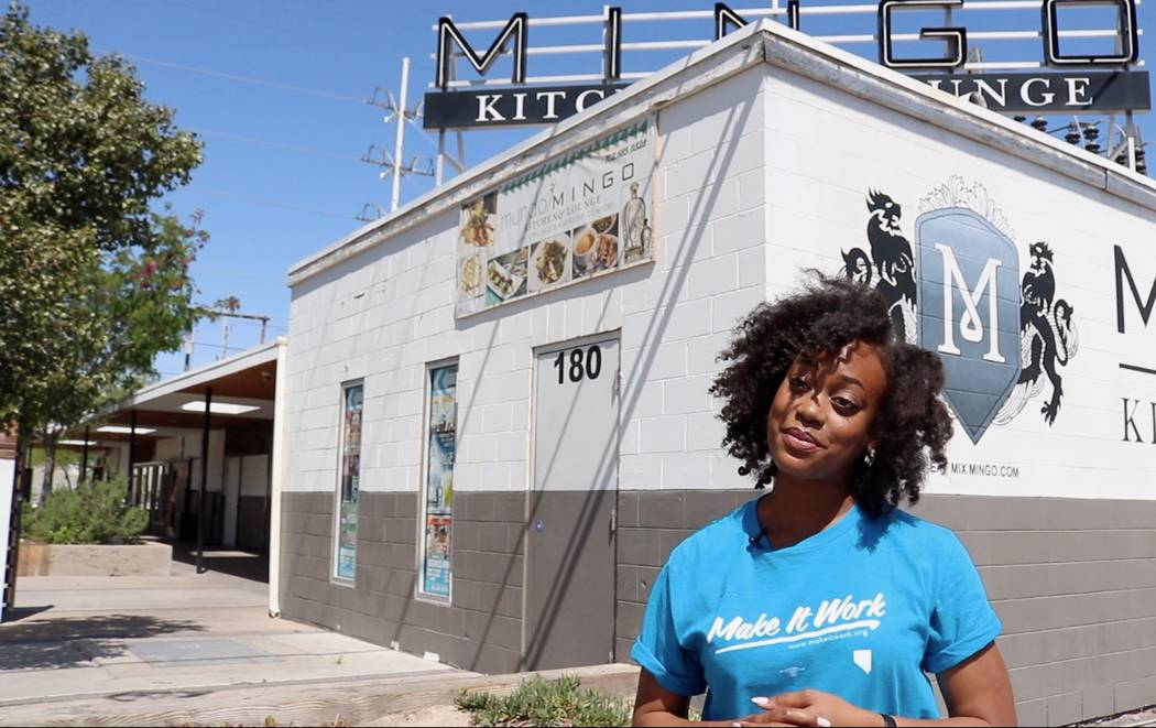 """Carmella Gadsen, ambassador for Make It Work Nevada, explains the group's idea for an """"UnHappy Hour"""" for Equal Pay Day in Downtown Las Vegas on Monday, April 9. Women will be able to order drinks  ..."""