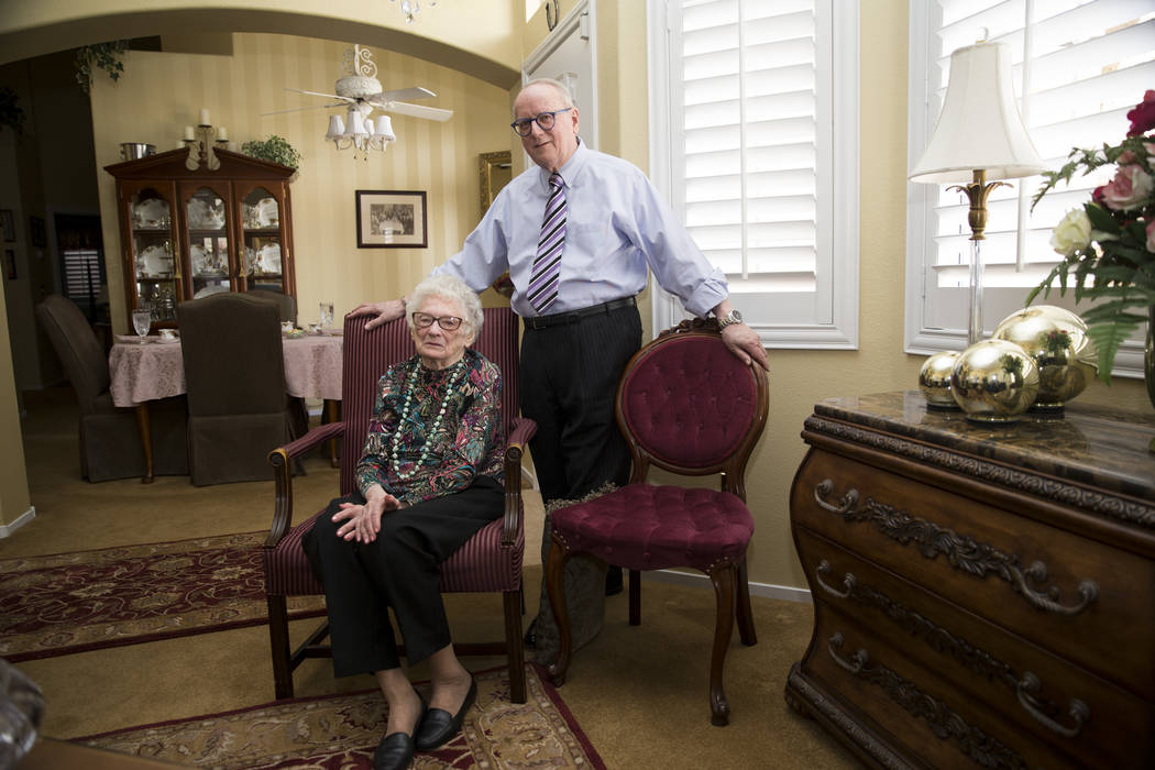 Maryann Lawrence and her son Ron at her Las Vegas home, Tuesday, April 10, 2018. Maryann and her relatives helped her cousin Mary Szymerski immigrate to the United States after spending sever ...