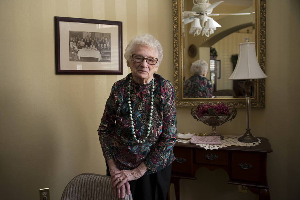 Maryann Lawrence at her Las Vegas home, Tuesday, April 10, 2018. Maryann and her relatives helped her cousin Mary Szymerski immigrate to the United States after spending several years as a po ...