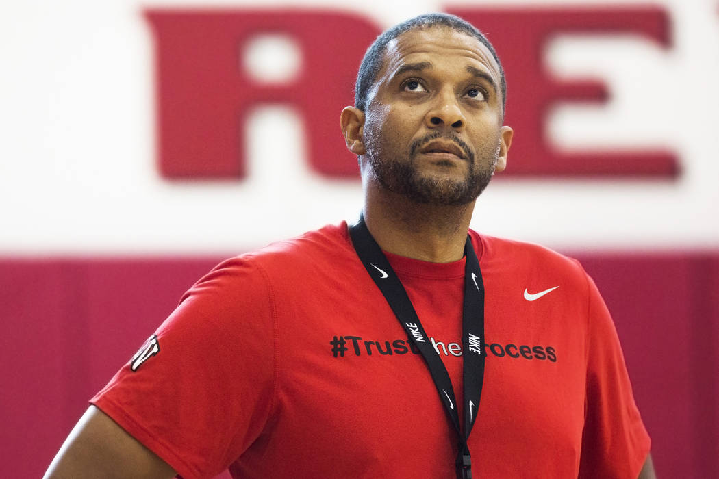 UNLV assistant coach Rob Jeter watches practice at the Mendenhall Center at UNLV on Monday, August 1, 2016, in Las Vegas. Benjamin Hager/Las Vegas Review-Journal