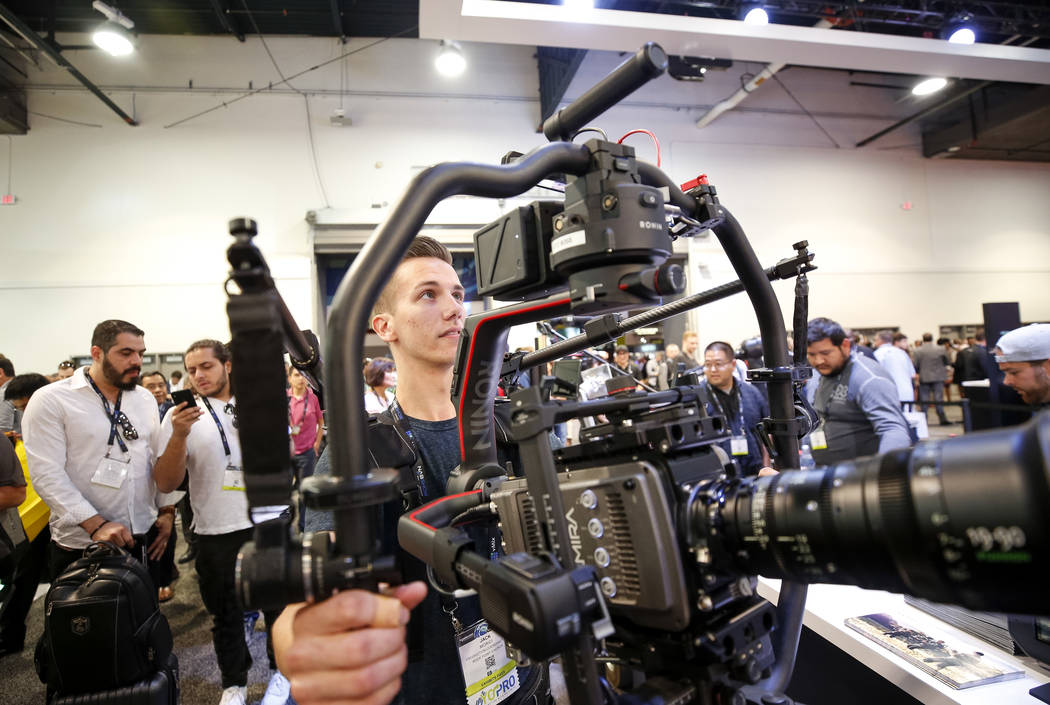 Jack Morici demos a Ronin Ready Rig camera stabilizer during the NAB Show, at the Las Vegas Convention Center, Monday morning, April 9, 2018. (Richard Brian/Las Vegas Review-Journal) @vegasphotograph