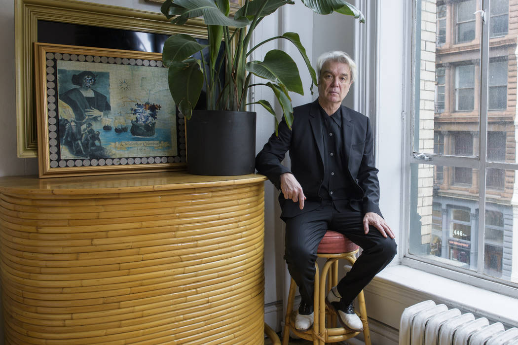 "In this Feb. 16, 2018 photo, musician David Byrne poses for a portrait in New York to promote his album, ""American Utopia,"" which will be released on Friday, March 9. (Photo by Drew Guri ..."