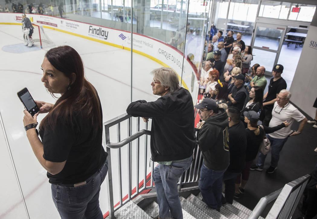 Fans pack City National Arena during Golden Knights practice on Tuesday, April 10, 2018, in Las Vegas. Benjamin Hager Las Vegas Review-Journal @benjaminhphoto