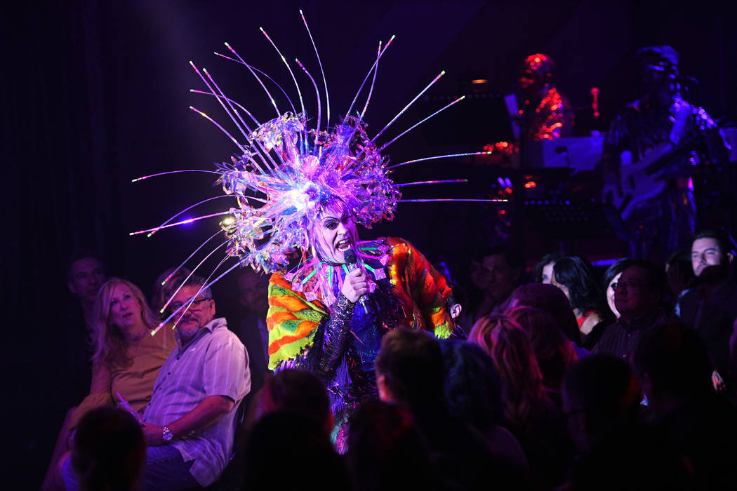 "Dusty Moonboots, in full voice and costume, is shown at opening night of ""Opium"" at the Cosmopolitan of Las Vegas on Sunday, April 8, 2018. (Al Powers)"