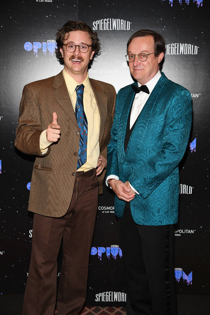 "The masterminds of ""Opium,"" producer character Harry M. Howie, left, and Spiegelworld founder Ross Mollison are shown at opening night of ""Opium"" at the Cosmopolitan of Las Vegas on Sunday, April  ..."