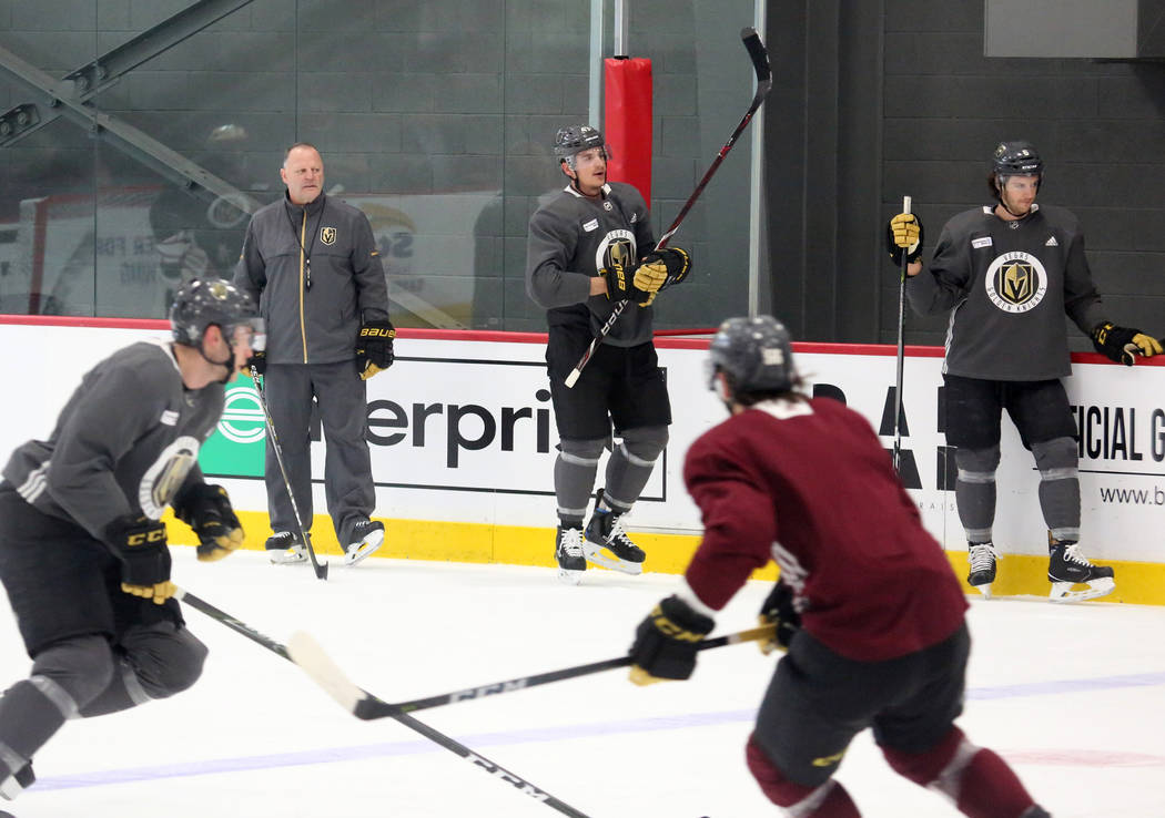 The Vegas Golden Knights head coach Gerald Gallant, left, watches as his players skate during team practice on Monday, April 9, 2018, in Las Vegas. Bizuayehu Tesfaye/Las Vegas Review-Journal @bizu ...