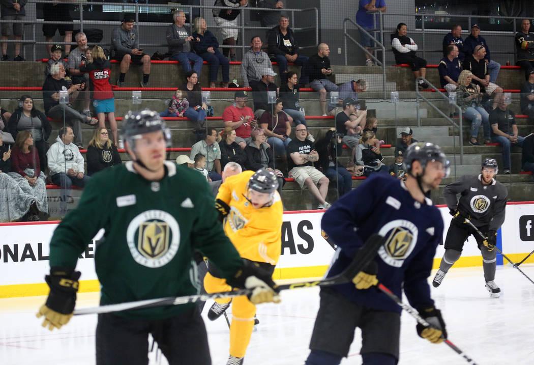 Fans watch as the Vegas Golden Knights practice at City National Arena on Monday, April 9, 2018, in Las Vegas. Bizuayehu Tesfaye/Las Vegas Review-Journal @bizutesfaye