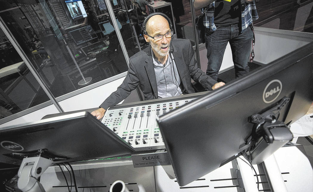 Broadcast Beat's Lead Audio Engineer Rob Dunfee works the console in the Podcast Studio during the second day of the NAB Show at the Las Vegas Convention Center on Tuesday, April 10, 2018. Richard ...