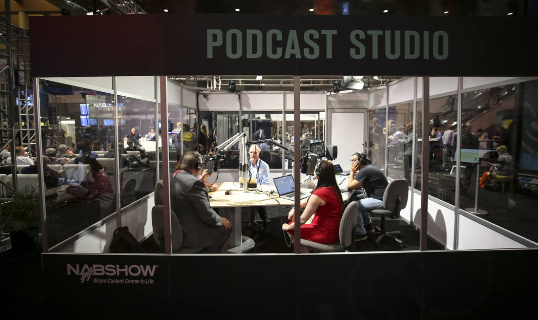 People broadcast from the Podcast Studio during the first day of the NAB Show at the Las Vegas Convention Center on Monday, April 9, 2018. Richard Brian Las Vegas Review-Journal @vegasphotograph