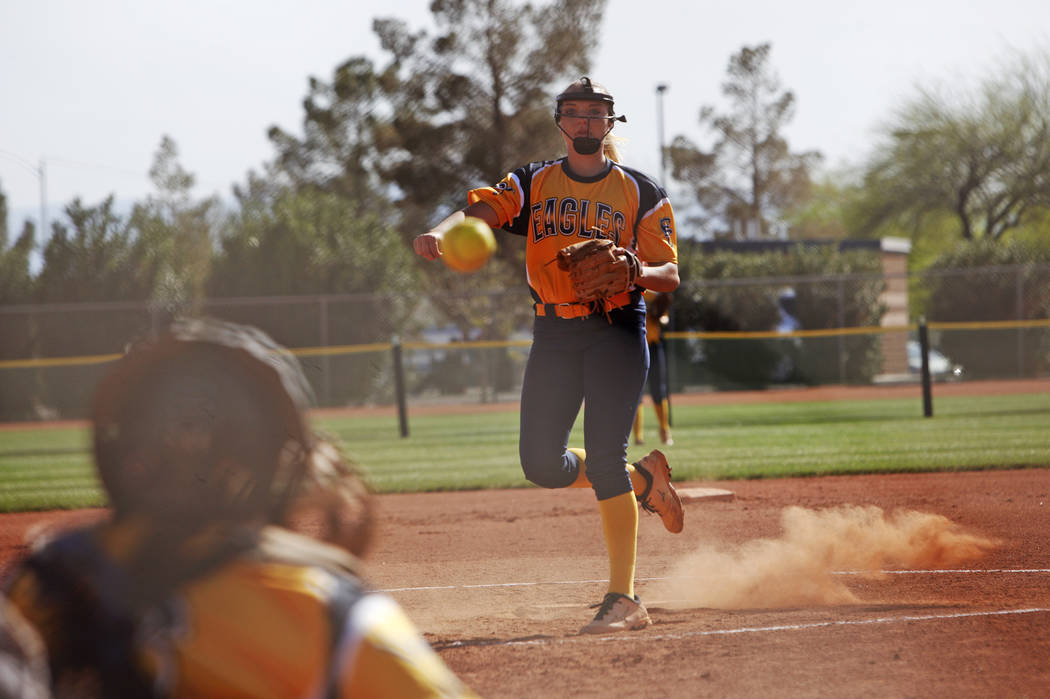 Boulder City High School's Bailey Bennett-Jordan pitches against Virgin Valley High School at a softball game in Boulder City, Monday, April 9, 2018. Rachel Aston Las Vegas Review-Journal @rookie__rae