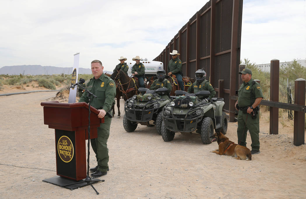 Aaron Hull, chief patrol agent of the U. S. Customs and Border Protection's El Paso Sector, speaks where construction on a new segment of the border wall will be built, near Santa Teresa, N.M., Mo ...