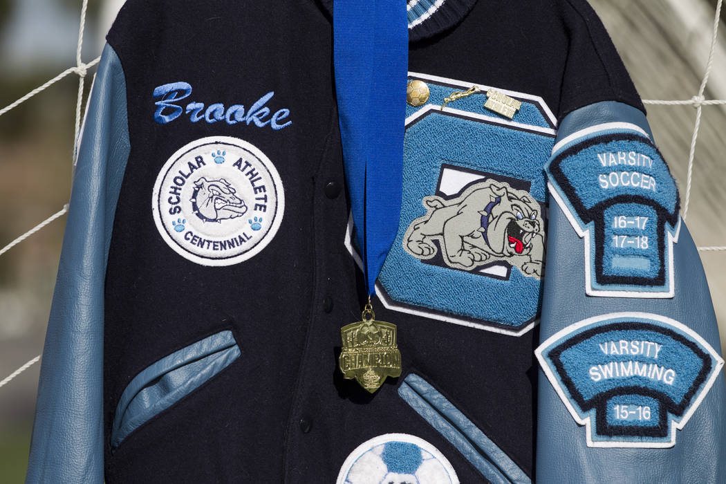 The letterman jacket of Brooke Hawley is displayed during a press conference announcing a memorial scholarship named after her at the Bettye Wilson Soccer Complex in Las Vegas, Tuesday, April 10,  ...