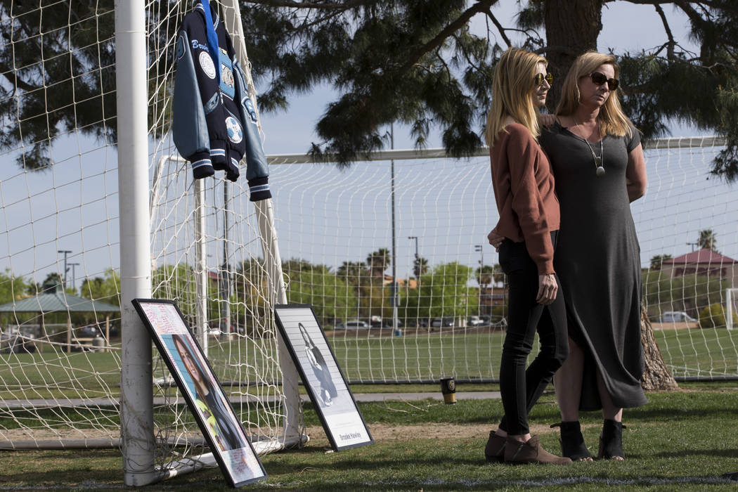 Heather Hawley, left, and her mother Rhonda, speak during an interview following a press conference announcing the Brooke Hawley Memorial Scholarship, at the Bettye Wilson Soccer Complex in Las Ve ...