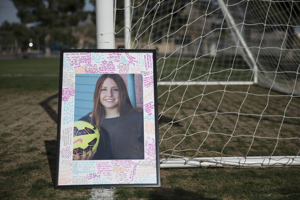 A picture of Brooke Hawley is displayed during a press conference announcing a memorial scholarship named after her at the Bettye Wilson Soccer Complex in Las Vegas, Tuesday, April 10, 2018. Hawle ...