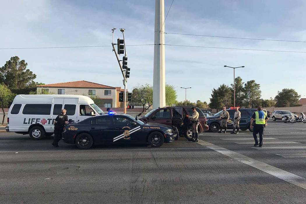 The 33-year-old driver of an SUV died in a crash Monday afternoon involving a Nevada Highway Patrol officer's car and another vehicle at the intersection of West Cheyenne Avenue and North Durango  ...