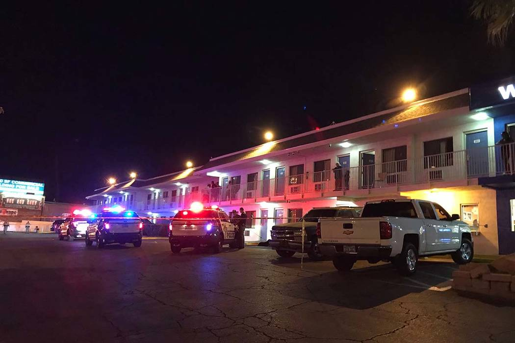 Las Vegas police were investigating a shooting Monday night that left one man critically injured at the Motel 6 at 5058 Dean Martin Drive. (Blake Apgar/Las Vegas Review-Journal)