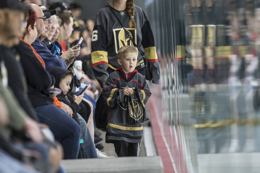 Richard Gagnon, middle, watches Golden Knights practice on Tuesday, April 10, 2018, at City National Arena, in Las Vegas. Benjamin Hager Las Vegas Review-Journal @benjaminhphoto