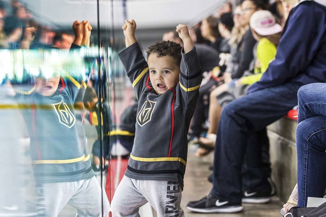 """Zion Brown cheers for Golden Knights goalie Malcolm Subban during practice on Tuesday, April 10, 2018, at City National Arena, in Las Vegas. """"They're obsessed with goalies,"""" said mother  ..."""