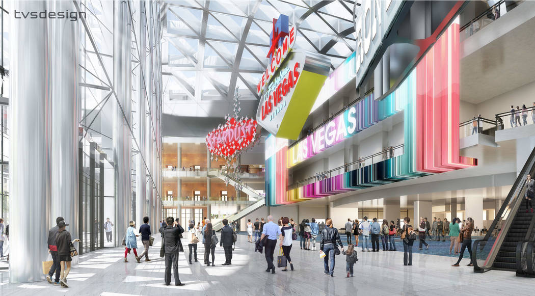 Atrium --  A design rendering, released April 10, 2018, showing how the Las Vegas Convention Center District Phase Two Expansion is expected to look on completion, provided by tvsdesign / Design L ...