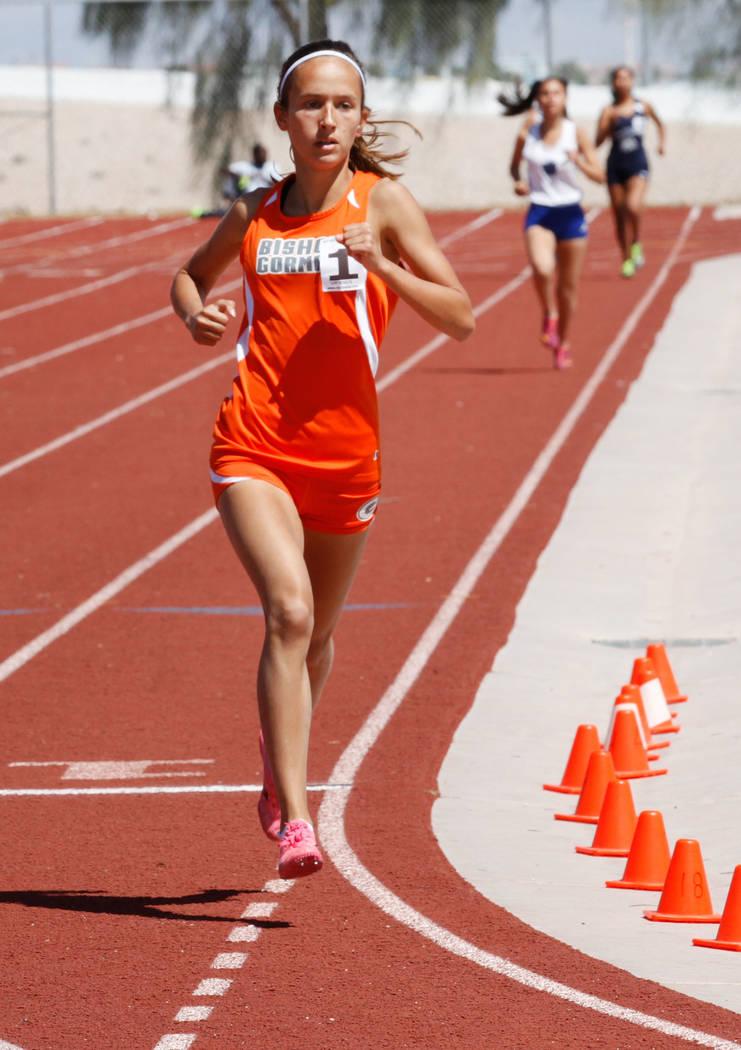 Bishop Gorman freshman Emilia Puskas (1) competes during the girls' 1600m during Blaine Thompson-Las Vegas Track Classic at Desert Oasis High School in Las Vegas, Saturday, April 14, 2018. Puskas ...