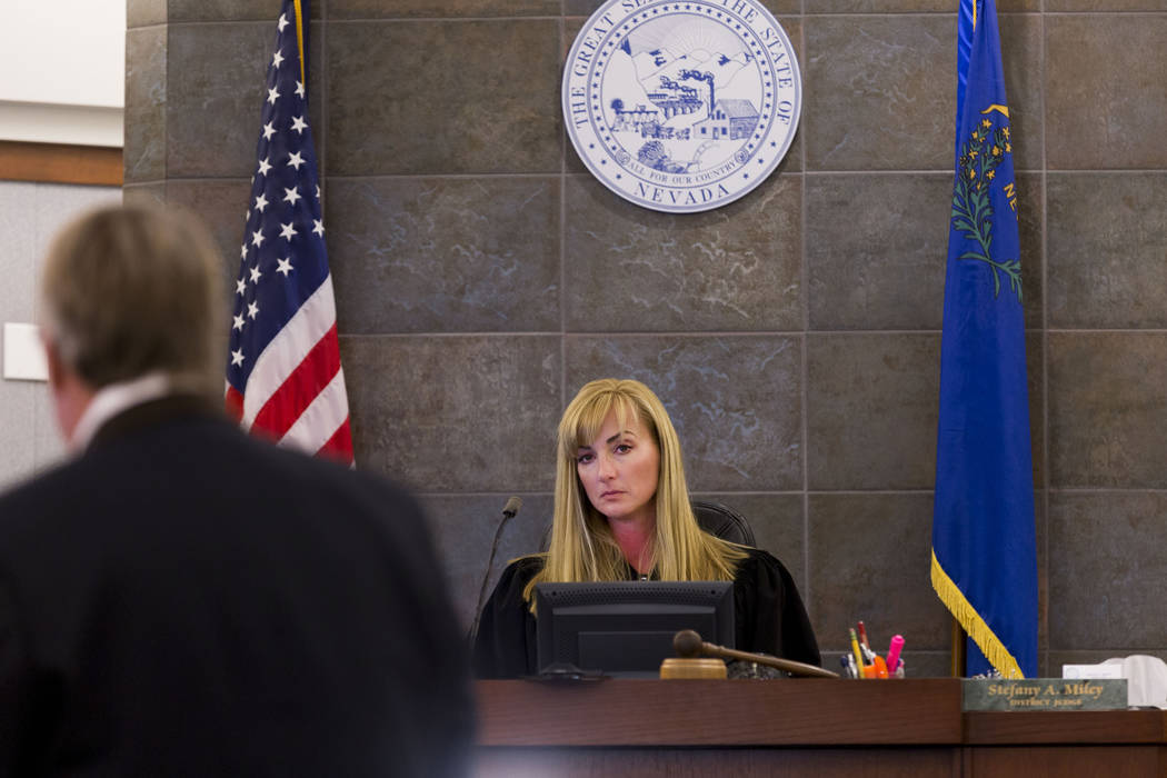 District Judge Stefany Miley presides over a case at the Regional Justice Center on June 29, 2017, in Las Vegas. On Tuesday, Miley accused the Metropolitan Police Department of playing games to av ...