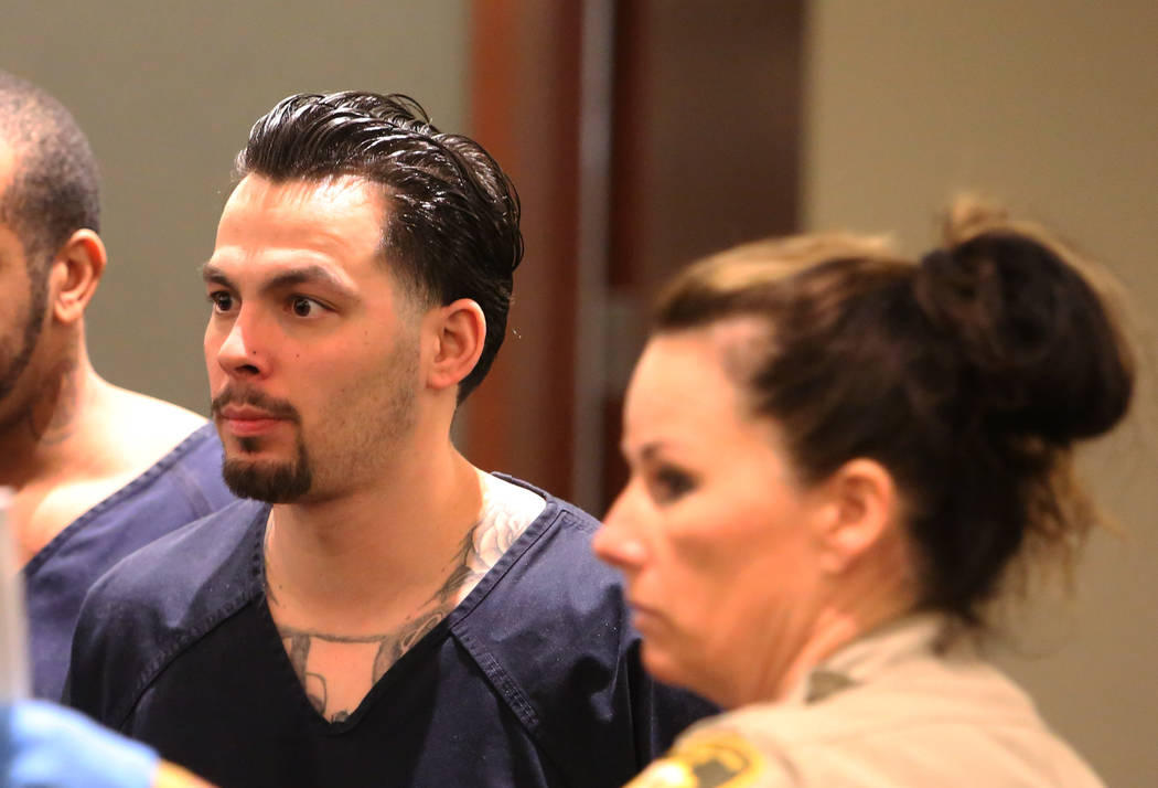 James Beach, who pleaded guilty to voluntary manslaughter in the one-punch death of Luis Campos, appears in court during his sentencing at the Regional Justice Center on Tuesday, April 10, 2018, i ...