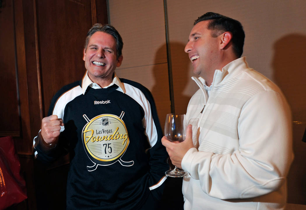 Joe Maloof, left, speaks with John Saccenti at the Southern Highlands Golf Club on Monday, Feb. 23, 2015. Maloof and his brother, Gavin, have been touring Las Vegas talking with hockey fans attemp ...