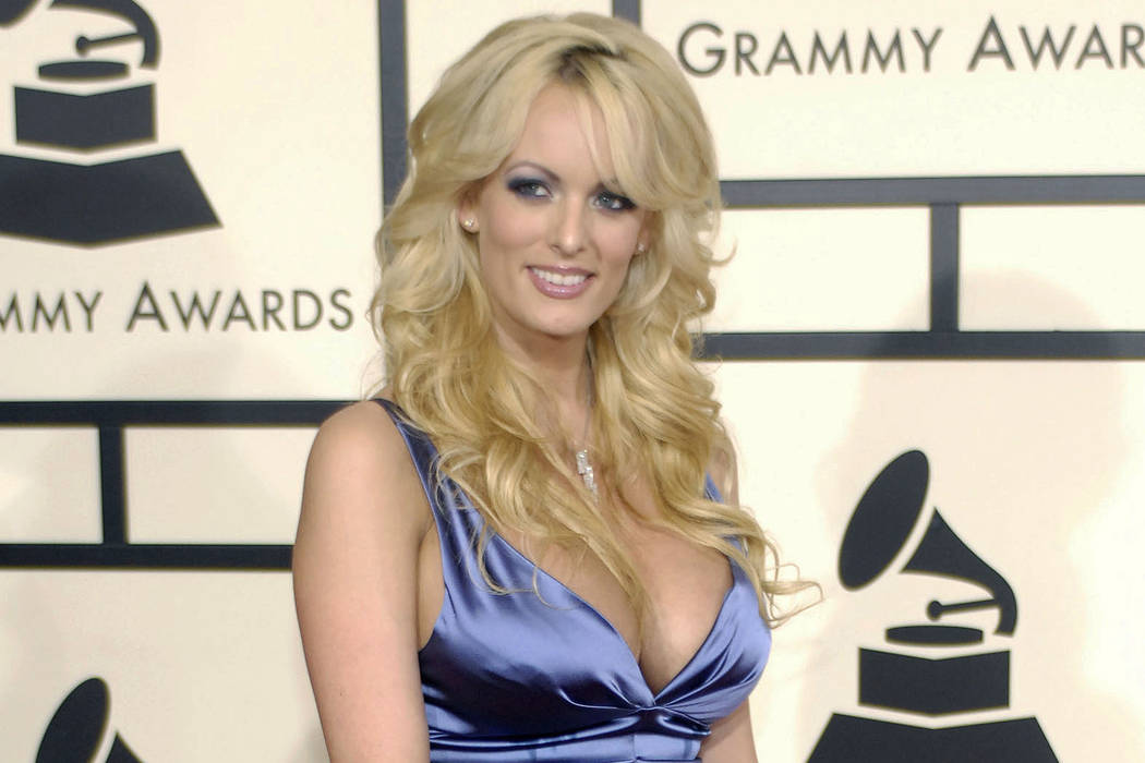Adult film star Stormy Daniels arrives at the 50th Annual Grammy Awards in Los Angeles on Feb. 10, 2008. (AP Photo/Chris Pizzello, File)