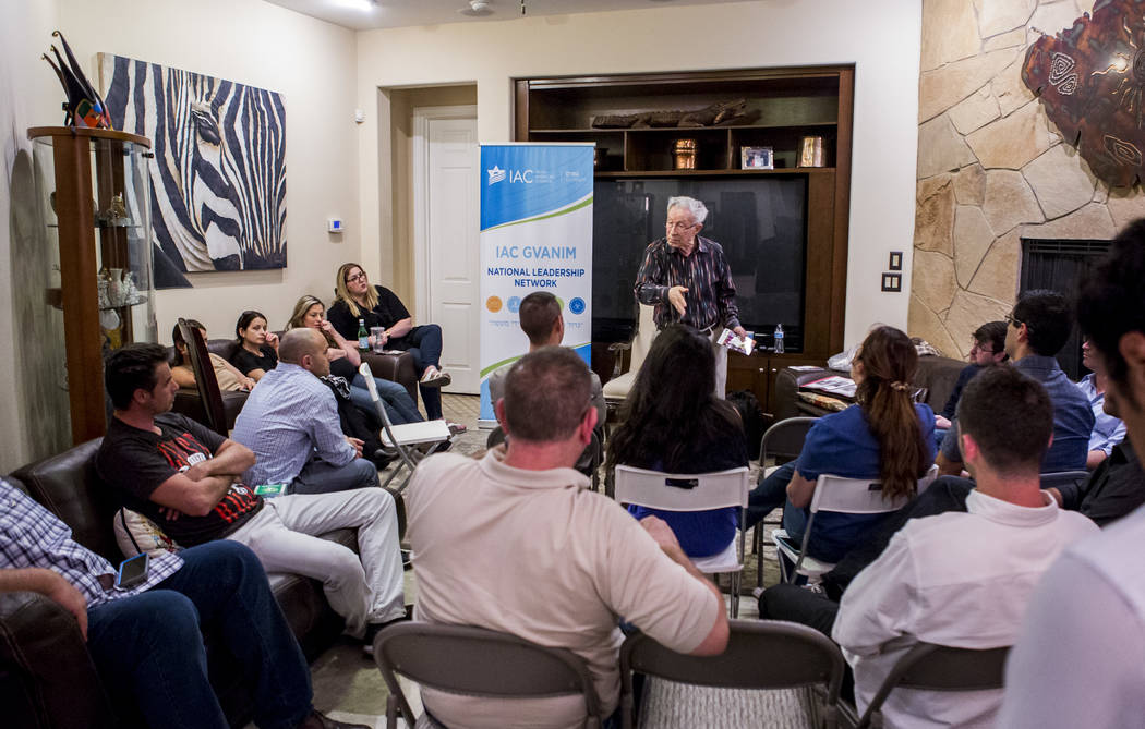 Ben Lesser, an 89-year-old Holocaust survivor, speaks at a Yom HaShoah, or Holocaust Rememberence Day, event at a Summerlin home on Wednesday, April 11, 2018.  Patrick Connolly Las Vegas Review-Jo ...