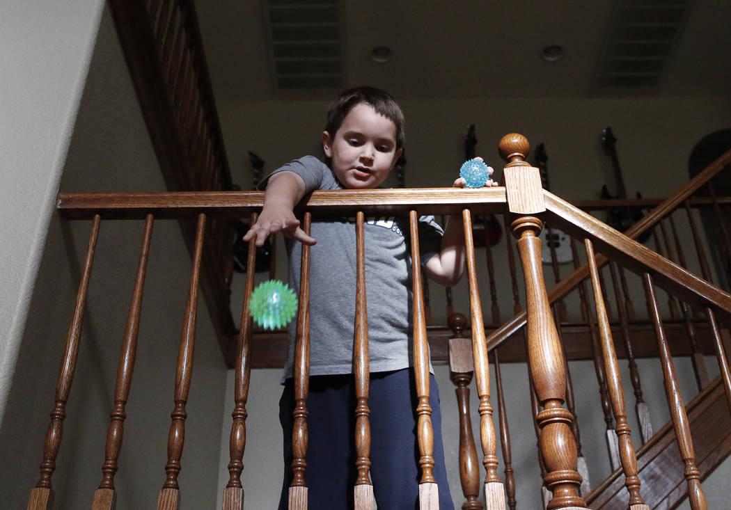 Jason Sebron, 5, plays at his Henderson home on Wednesday, April 11, 2018. Bizuayehu Tesfaye/Las Vegas Review-Journal @bizutesfaye