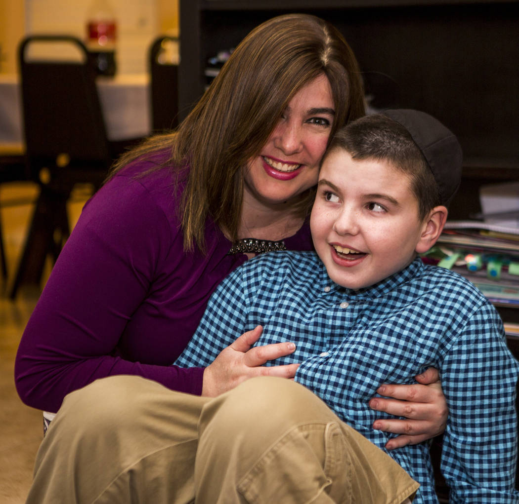 Luna Smerkin shares a moment with her son Yosef, 9, who has autism, at their Summerlin home on Thursday, April 12, 2018. Patrick Connolly Las Vegas Review-Journal @PConnPie
