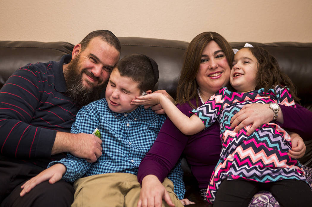 The Smerkin family, from left, Guido, Yosef, 9, Luna and Deborah Smerkin, 6, at their Summerlin home on Thursday, April 12, 2018. Yosef and Deborah both have autism. Patrick Connolly Las Vegas Re ...