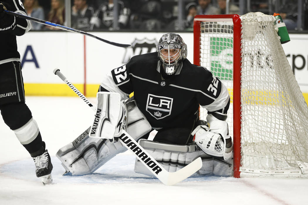 Los Angeles Kings goaltender Jonathan Quick guards his net during the first period of an NHL hockey game against the Calgary Flames Monday, March 26, 2018, in Los Angeles. (AP Photo/Jae C. Hong)