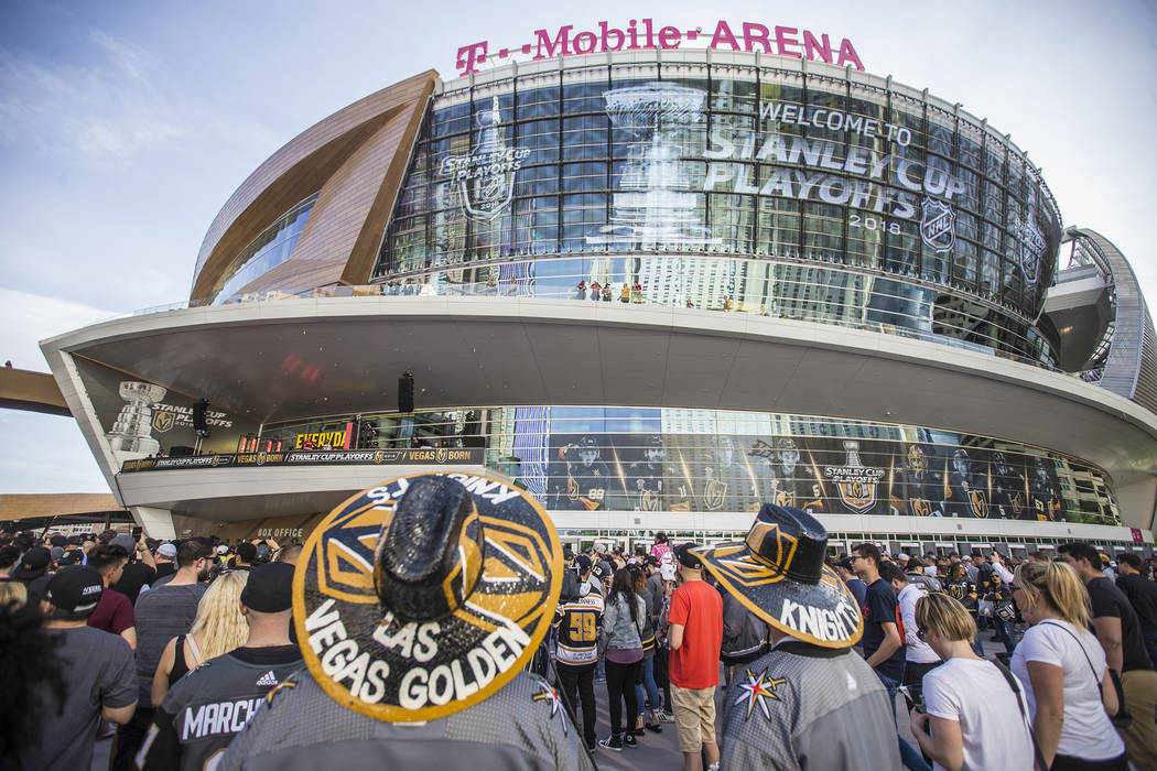 Fans file into T-Mobile Arena before the start of the Golden Knights first round playoff game with the Los Angeles Kings at Toshiba Plaza on Wednesday, April 11, 2018, in Las Vegas. Benjamin Hager ...
