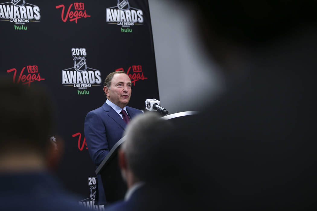 NHL commissioner Gary Bettman announces the return of the NHL Awards show to Las Vegas before the start of Game 1 of an NHL hockey first round playoff series between the Golden Knights and Los Ang ...