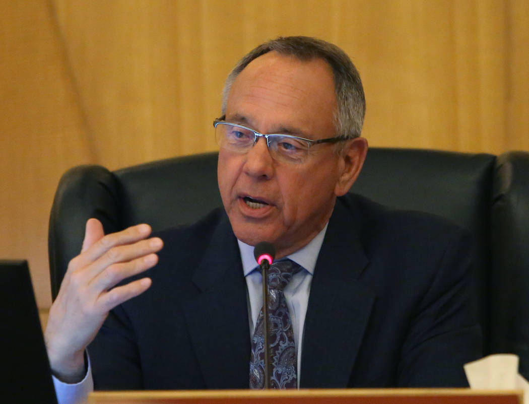Clark County Commissioner Jim Gibson speaks during a commission meeting to debate whether to get rid of the Henderson and North Las Vegas constables on Tuesday, April 17, 2018, in Las Vegas. Bizua ...