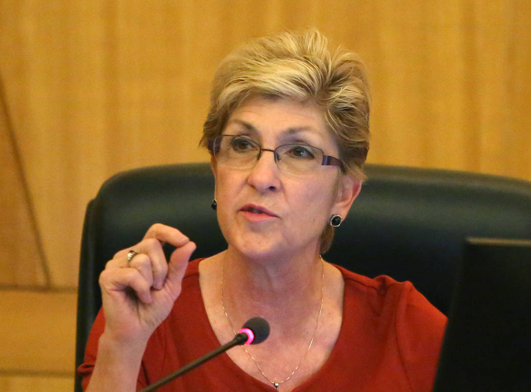 Clark County Commissioner Chris Giunchigliani speaks during a commission meeting to debate whether to get rid of the Henderson and North Las Vegas constables on Tuesday, April 17, 2018, in Las Veg ...